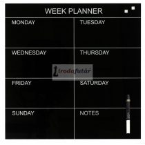 Glass week planner 45 x 45 cm. Black. English