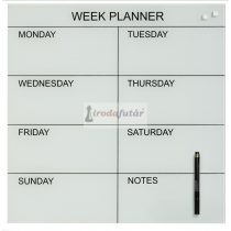 Glass week planner 45 x 45 cm. White. English