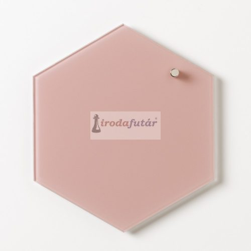 Rózsaszín hatszögű mágneses üvegtábla (21 cm)