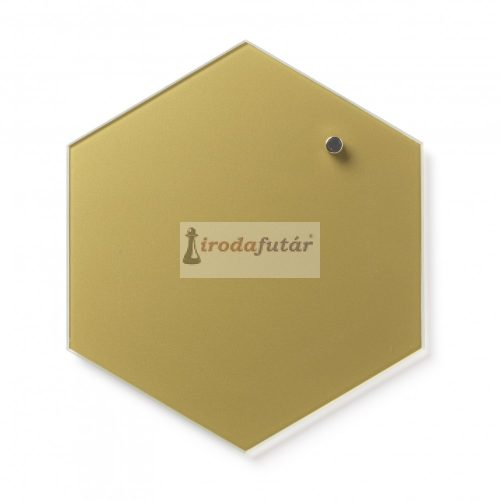 Magnetic glass board Hexagonal 21 cm. Gold