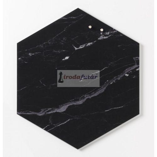 Magnetic glass board Hexagonal 42 cm. Black Marble