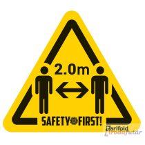 2 méter távolságtartást jelölő ember piktogramos sárga-fekete padlómatrica