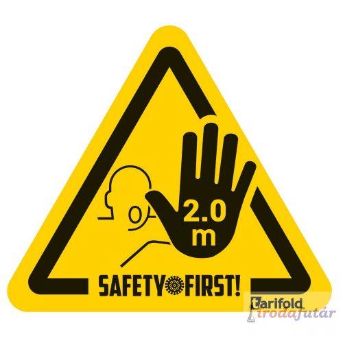 2 méter távolságtartást jelölő kéz piktogramos sárga-fekete padlómatrica