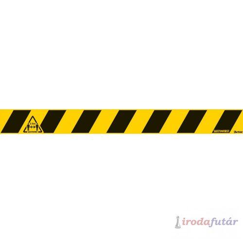 2 méter távolságtartást jelölő sárga-fekete padlómatrica csík