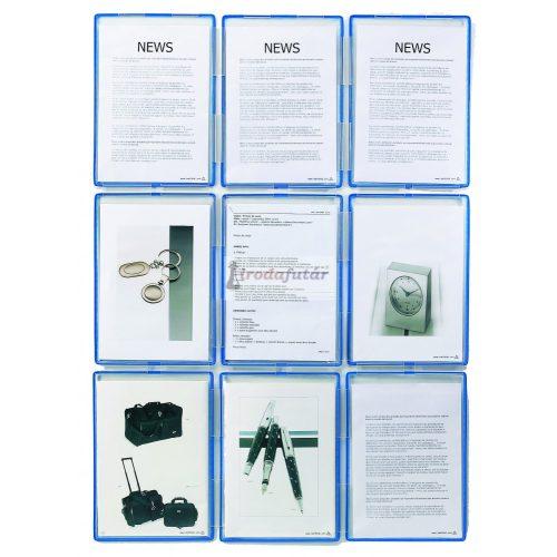 Tariclip 9, 9 db standard bemutatótábla + rögzítő elemek (oszloppá alakítható)