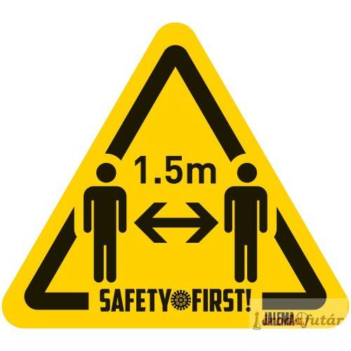 1.5 méter távolságtartást jelölő ember piktogramos sárga-fekete padlómatrica