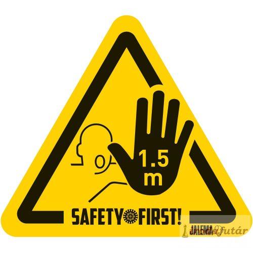 1.5 méter távolságtartást jelölő kéz piktogramos sárga-fekete padlómatrica
