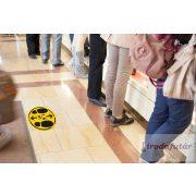 1.5 méter távolságtartást jelölő lábnyom piktogramos sárga-fekete padlómatrica durva felületre